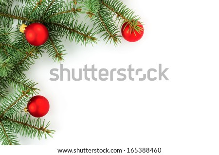 Christmas border isolated on white background - stock photo