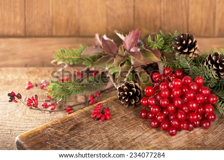 Christmas border of holly, ivy, mistletoe and cedar cypress leaf sprigs with pine cones - stock photo