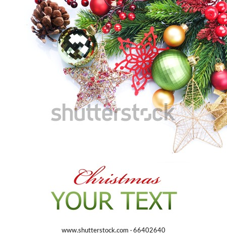 Christmas border over white.Corner design - stock photo