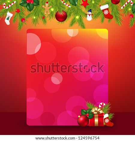 Christmas Border With Garland And Banner - stock photo