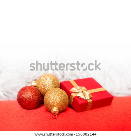 Christmas border with ornament and present  - stock photo