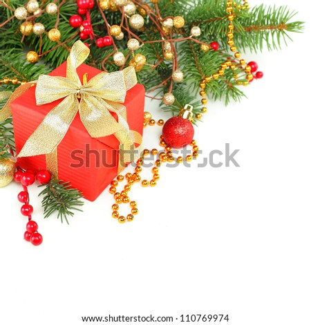 Christmas border with Xmas tree, red gift and gold decoration isolated