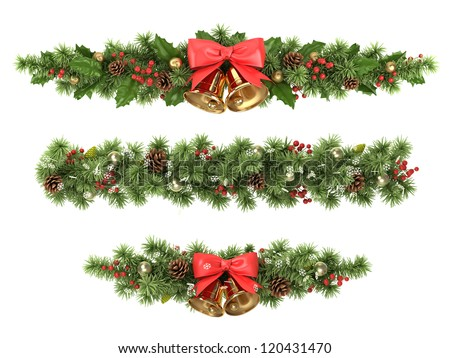 Christmas borders from the decorated  fir tree branches. - stock photo