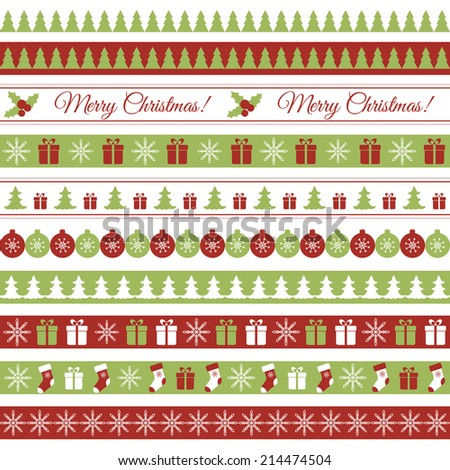Christmas borders. Raster version - stock photo