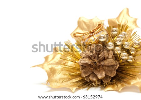 christmas bouquet isolated on white - stock photo