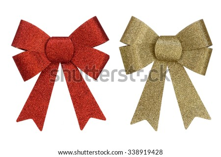 Christmas bow isolated on white background - stock photo