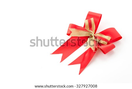 christmas bow on white background - stock photo