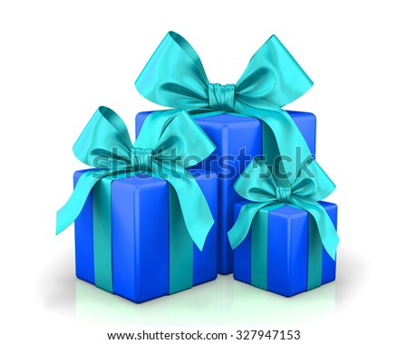 christmas box blue 3d render