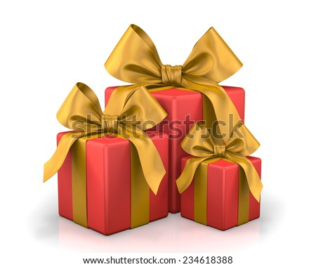 christmas box 3d render - stock photo