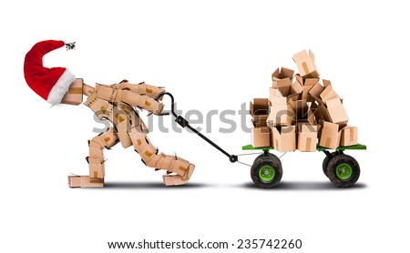 Christmas box man pulling a cart of empty boxes