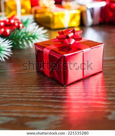 Christmas box with decoration - stock photo