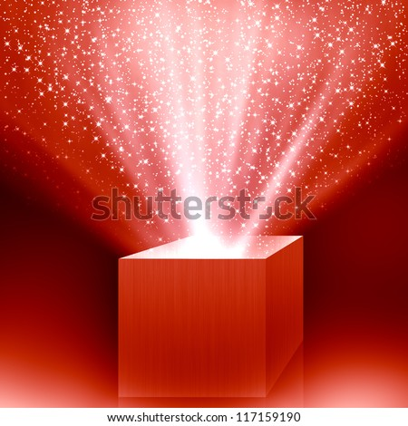 christmas box with red light