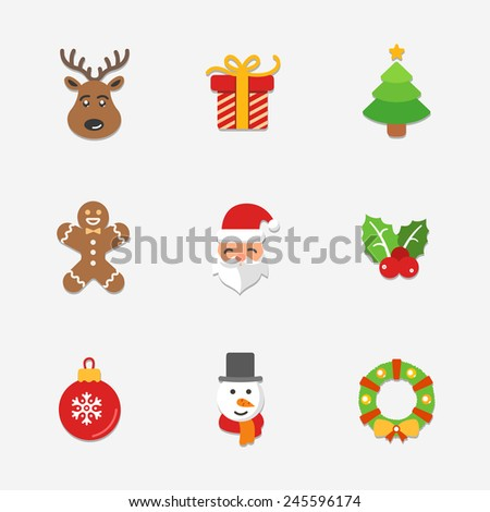 Christmas bright icons collection