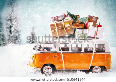 Christmas bus with gifts, for a greeting card maybe. Many presents or gifts on a car driving to christmas party