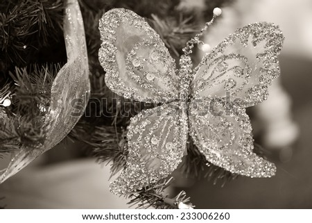 Christmas butterfly - stock photo