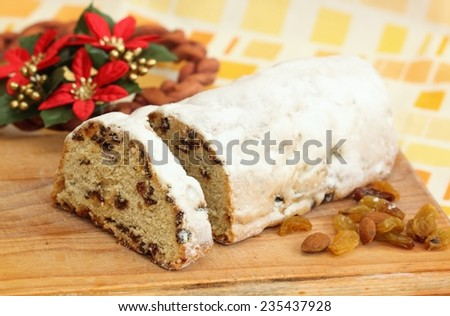 Christmas cake called twist or stollen - stock photo