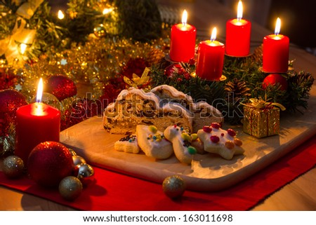 Christmas cake with advent wreath