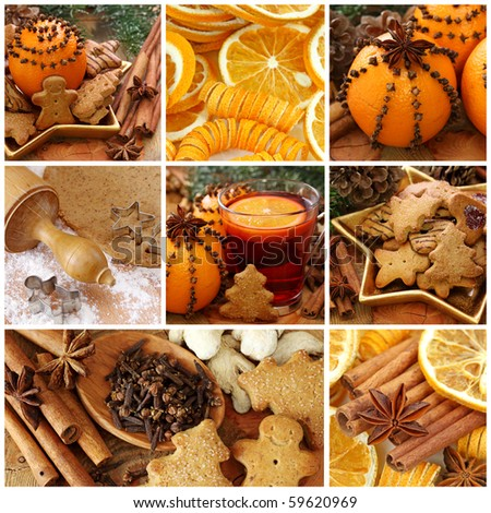 Christmas cakes and spices collage - stock photo