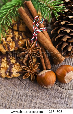 Christmas cakes on brown wooden background (selective focus) - stock photo