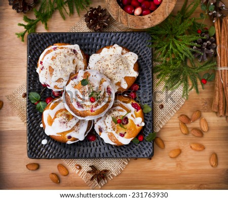 Christmas cakes with icing and decoration - stock photo
