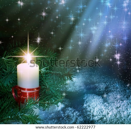 Christmas Candle composition. - stock photo