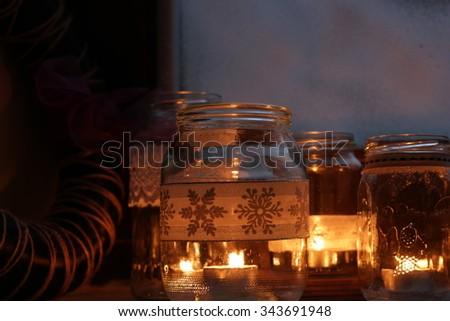 Christmas candle decoration  - stock photo