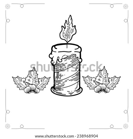 Christmas candle. Graphic Outline illustration. Hand drawn illustration for xmas design. Christmas candle combined width mistletoe. Engraving Style - stock photo