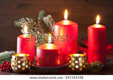 christmas candles lantern decoration - stock photo