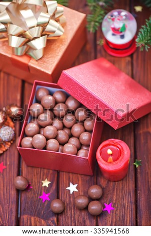 christmas candy and christmas decoration on a table