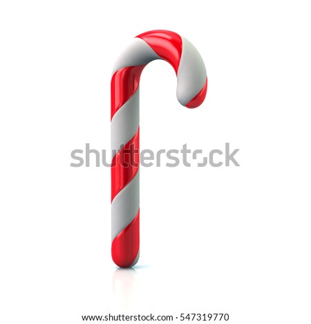 Christmas candy cane 3d rendering on white background