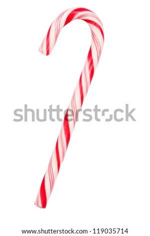 Christmas candy cane isolated on white background - stock photo