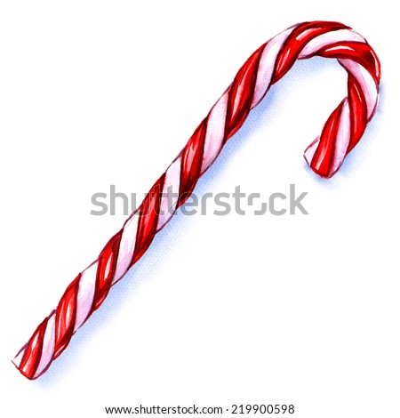 Christmas Candy Cane Isolated on White Background.