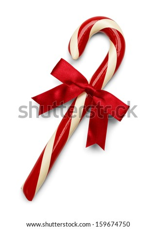 Christmas Candy Cane with Red Bow Isolated on White Background. - stock photo
