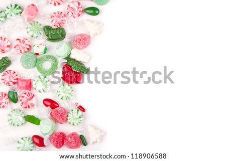 Christmas candy on a white background - stock photo
