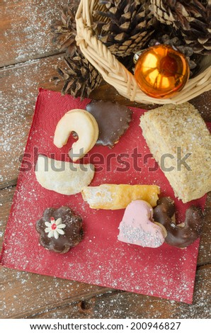 Christmas candy with pinecone in punnet with