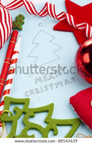 Christmas card and decoration with Merry Christmas text - stock photo
