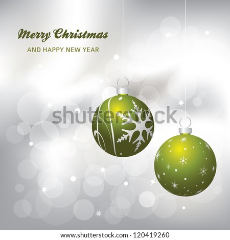 christmas card background, green and silver, raster version