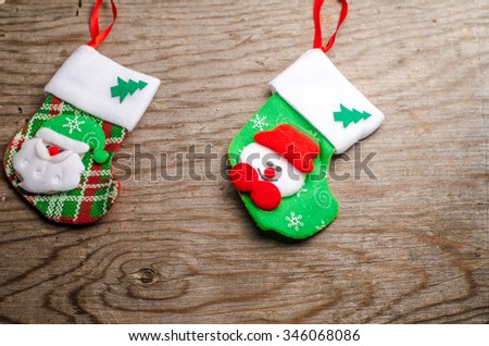 christmas card christmas ornaments socks and toys on wooden background horizontal photo - Christmas Card Ornaments
