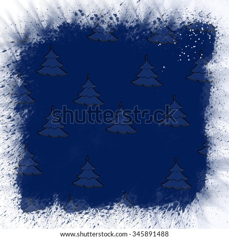 Christmas card, Christmas tree with decoration - stock photo