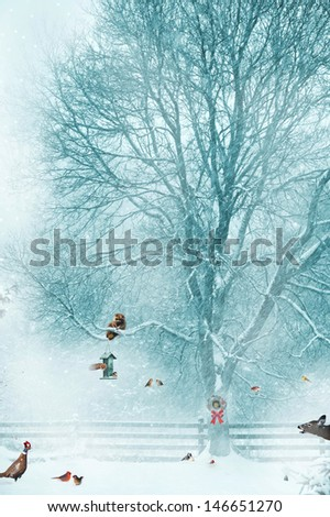 Christmas card design with birds, and other wildlife gathering around a bird feeder during a snow storm.  - stock photo