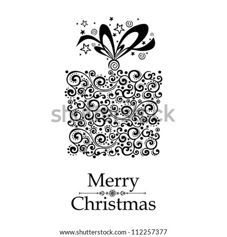 Christmas card. Gift box with ribbon isolated on White background. illustration