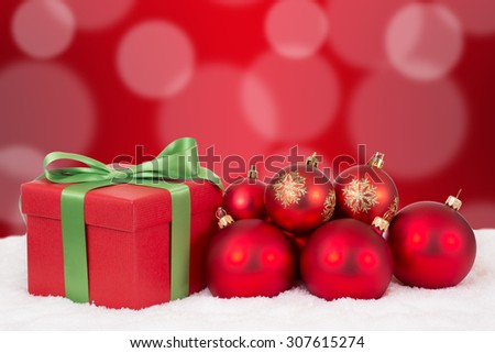 Christmas card gift decoration with red balls and copyspace