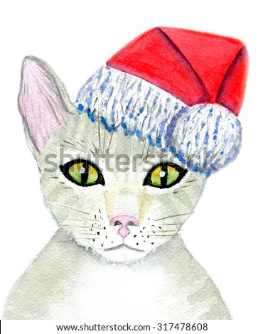 Christmas card, hand-painted watercolor illustration, cat in the hat of Santa Claus, Isolated on white background and paper texture - stock photo