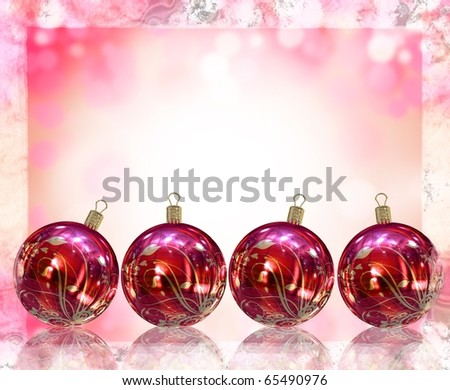 Christmas card illustration showing Christmas balls