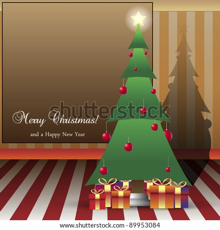 Christmas Card Illustration Tree with Copy-space