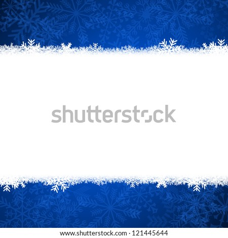 christmas card illustration with snowflakes on blue background