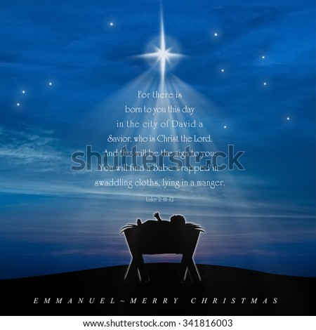 Christmas Card, Nativity Scene Of Baby Jesus In The Manger With Scriptures  In Christmas Tree