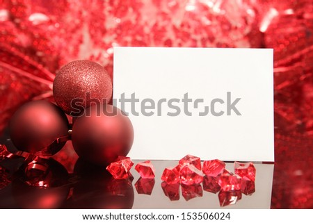 Christmas card on red background - stock photo