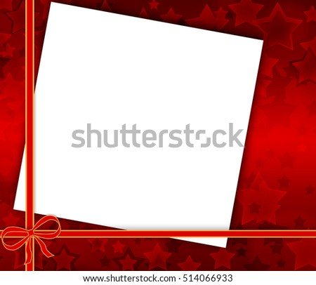 Christmas card on red background with stars