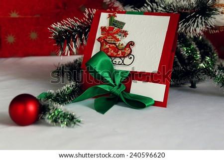 Christmas card. ?ongratulate original. New Year - stock photo